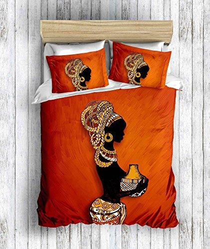 DecoMood 3D Bedruckte 100% Baumwolle Bettwäsche-Set, Traditionelle Afrikanische Frauen Motto, Full/Queen Size Bettdecke/Bettbezug Set, Orange Full/Queen Size Orange (Afrikanische Tröster)