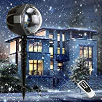 Christmas Decoration Projector, Rotating Snowfall Spotlight , Falling Night Lights White Snowflake,Waterproof LED Landscape Light Outdoor Garden Wall, Birthday Party Stage decoration lighting