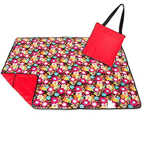 Roebury Picnic Blanket & Beach Blanket - Large Oversized Water-Resistant Sandproof Mat for Outdoor Travel or Camping Rug Folds into a compact Tote Bag [Red Sunflowers - Red