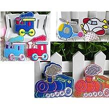 Juego de 7 piezas de serie de dibujos animados diseño de tren de coche de hierro de avión para coser en la parche para escudo del Real Mallorca tasas de infantil con forma de la ropa en vídeo de dibujos animados de