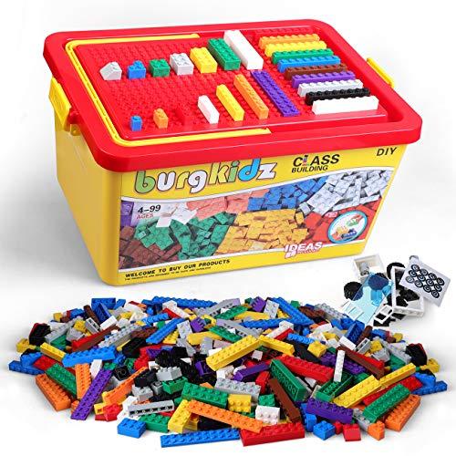 Bausteine 1018 Teile, 1000 Grundbaustein in 10 klassischen Farben, 17 Fun Shapes umfassen Räder, Türen, Fenster, Aufbewahrungsbox mit Block und Bodenplatte, kompatibles Spielzeug (1000 Pieces)
