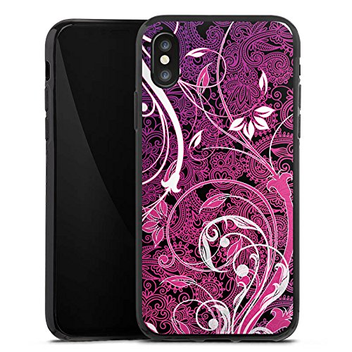 Apple iPhone X Silikon Hülle Case Schutzhülle Floral Ornament Blumen Silikon Case schwarz