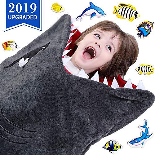 CozyBomB Hai-Decke für Kinder - Glattes Einteiler-Kuschel-Design - Robustes nahtloses Kuscheln - Plüschwurf - Vergrößerte Größe Grauer Schlafsack mit Flosse - Geburtstag für Jungen und Mädchen (Kinder-hai)
