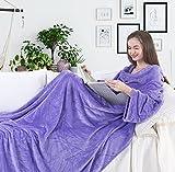 DecoKing 97052 TV-Decke 170x200 cm lila Microfaser Ärmeln und Taschen Mikrofaserdecke Fleecedecke Fleece weich sanft flauschig kuschelig Füßtasche Lilac Purple Kuscheldecke, Mikrofaser, 170 x 200 cm