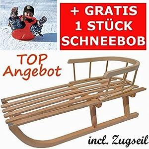 Holzschlitten mit Rückenlehne Kinderschlitten Lehne Zugseil Rodel aus Holz...