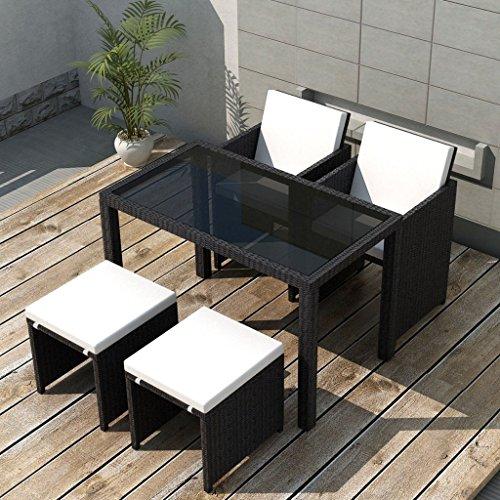Festnight 11-teilige Garten-Essgruppe aus Polyrattan Gartenmöbel Sitzgruppe mit 1 Gartentisch + 2 Stühle + 2 Hocker + 6 Kissen - Schwarz