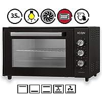 ICQN Mini four 35 L avec éclairage intérieur et recirculation | Mini four à pizza | Double vitrage | Fonction minuterie | Émaillé Anthracite