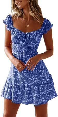 YBENLOVER Damen Blumen Sommerkleid High Waist Volant Kleid Vintage Minikleid Strandkleid