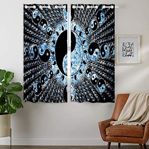 YISUMEI - Vorhang Blcikdicht - Galaxy Blacklight Reactive - 180 x 140 cm 2er Set Gardinen mit Ösen für Schlafzimmer Wohnzimmer (Galaxy Blacklight)
