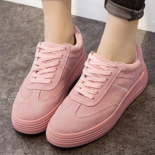 scarpe sportive a fondo piatto pizzo scarpe da donna focaccina inferiore, scarpe casual traspirante scarpe ascensore Ms. Autunno Pink