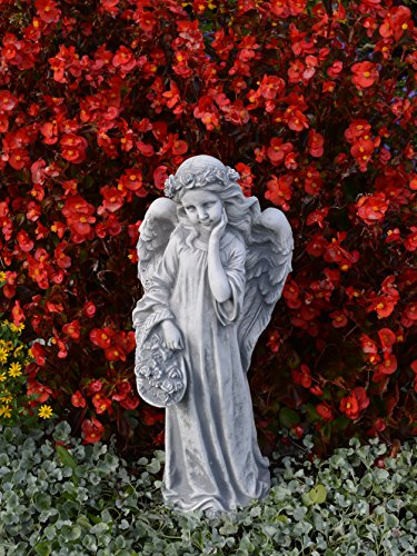 Liebevolle Engel Figur Gartenfigur aus Steinguss frostfest Grabdeko