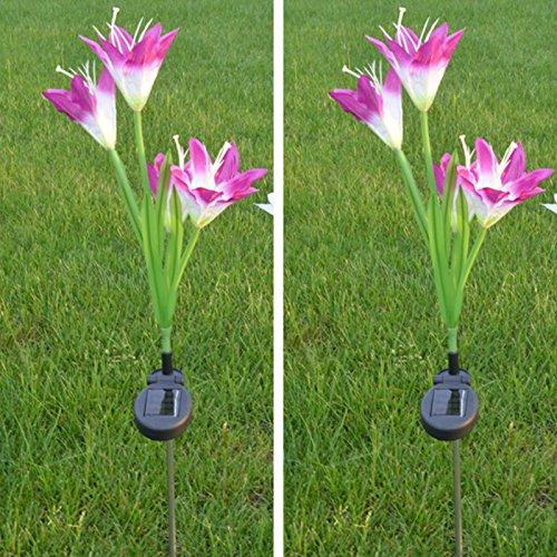 2 Stück Stehlampe (LANLAN Kreative stilvolle Stehlampe in Form Einer künstlichen Lilie mit 4 Solarblüten, Gartendekoration 2 Stück)