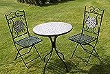Bistro-Garnitur / Garten-Set mit Mosaik-Muster, 2 Sitzplätze, Braun-Gold gemustert