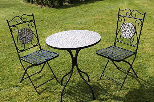 2-Sitzer 'braun/gold Muster' Mosaik Bistro Garten Set.