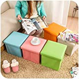 #9: Sterling PU Leather Collapsible Ottoman Table Footrest Step Stool Cum Storage Units for Bedroom/Living Room (Multicolour, LTHR_001)