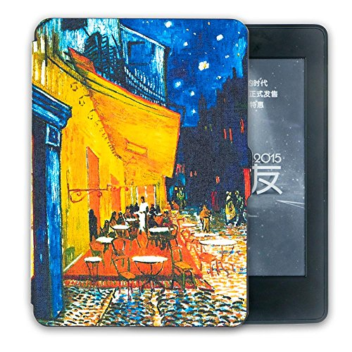 Schutz Hülle Tasche für Amazon Kindle Paperwhite Smart Tasche Etui Cover Case,Van Gogh Café (Leder Jacke Cafe)