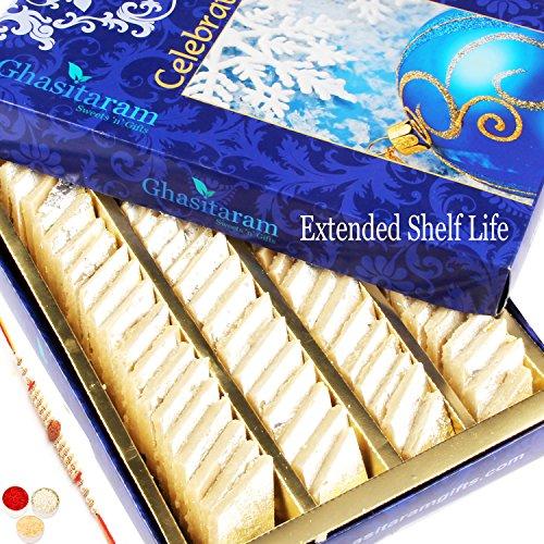 Ghasitaram Gifts Kaju Katlis Box 200 Gms With Rudraksh Rakhi