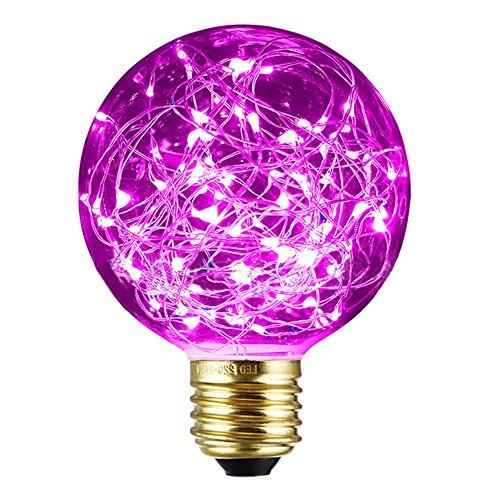 Decorativo Lampadine Edison, xinrong nuovo cielo stellato LED filo di rame luci E27220V 1,6W Risparmio Energetico buld per interni vintage Natale vacanze Ciondolo Luce Decorazione, Pink, 12.0 * 8.0cm