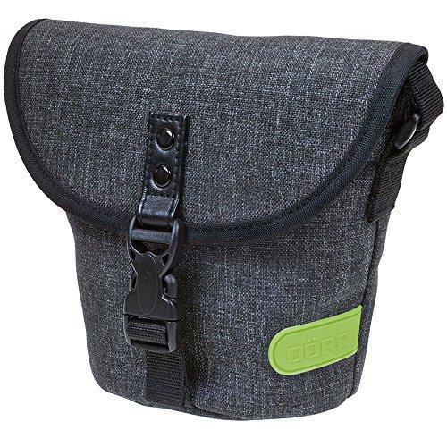 Dörr 463375 City Basic gross Fototasche für 1 Kompakt/SLR Kamera mit Objektiv und 1 Systemblitzgerät grau/limette
