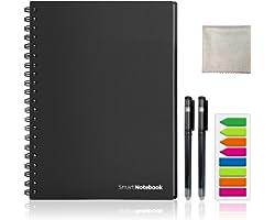HOMESTEC Cuaderno Inteligente Reutilizable | Tamaño A4 | Hojas borrables y adaptadas para escaneo a PDF mediante APP | Incluy