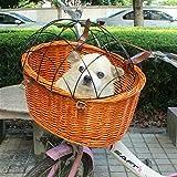 Hundefahrradkorb Fahrradkorb Tierkorb Vorne für Gepäckträger aus Weide 35 x 39 x 46 cm Beige ökologie Einkaufskorb mit Metallgitter