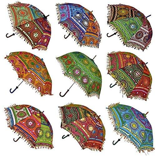 Balaji Arts Cotton Handmade Rajasthani Embroidery Work Wedding Umbrella for Women's   Set of 10