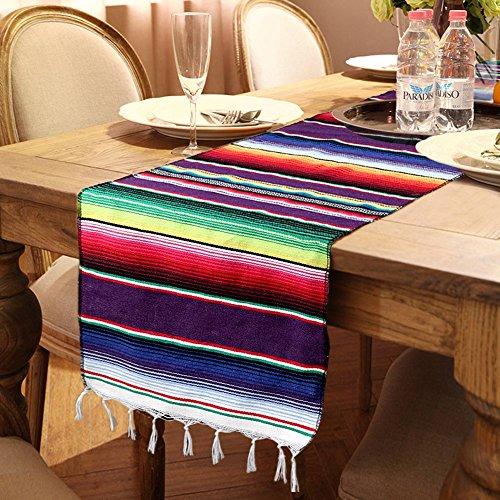 AerWo Camino de Mesa Mexicano DE 35,5 x 213,4 cm, Diseño de Franjas de Rayas, Algodón, para Decoración de Fiestas mexicanas, 1 Pieza