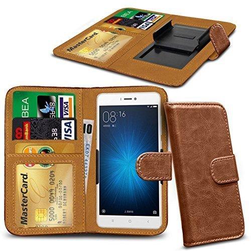 N4U ONLINE - Verschiedene Farben Clip Serie PU- Leder Brieftasche Buch Hülle für Oppo N1 Mini - Braun