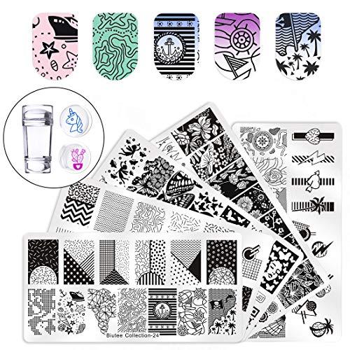 Biutee Set di Nail Art Stamping 5pcs Nail Template Piastra per Unghie+ 1pcs Raschietto+1pcs Stamper Per manicure