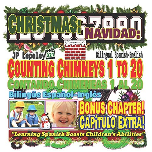 Christmas: Counting Chimneys 1 to 20. Bilingual Spanish-English