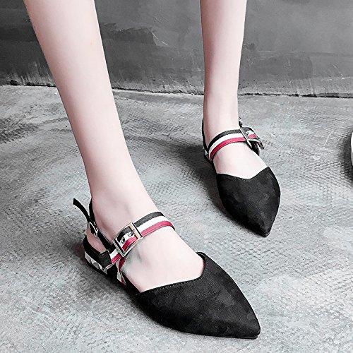 RUGAI-UE Estate cavo piatto sandali donna casual Wild fibbia moda Calzature Donna Black