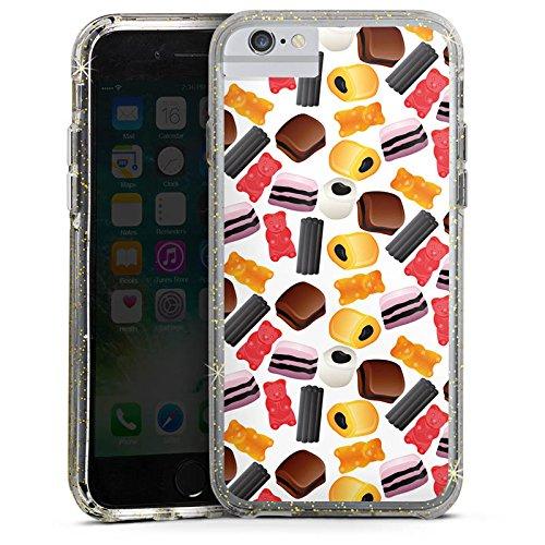 Apple iPhone 6 Bumper Hülle Bumper Case Glitzer Hülle Sweets Pattern Muster Bumper Case Glitzer gold