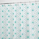 mDesign Rideau de Douche en PEVA - Accessoire de Salle de Bain pour la Douche - Rideau de Bain et Douche avec Motif géométrique - Blanc/Turquoise