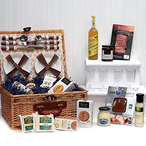 Florence Luxury 4 Person Fitted Picnic Hamper Basket with an Organic Gourmet Food Selection (Includes 14 Items) - Gift ideas for Christmas presents, Birthday, Anniversary and Congratulations Presents