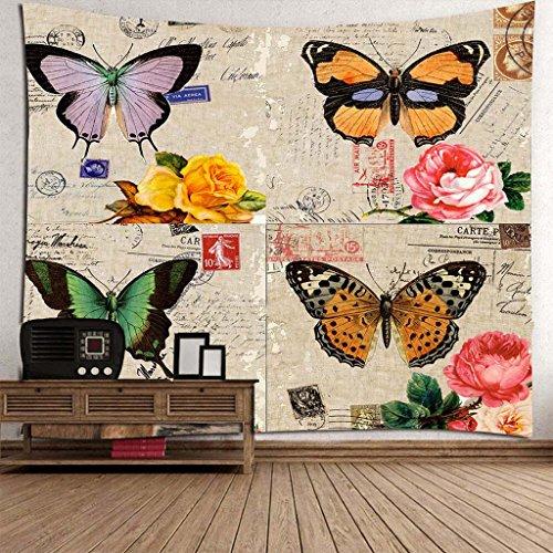 RLF LF Wohnkultur Tapisserie Decke Vintage Floral Schmetterling Kunstdruck Stoff Wandbild Tapisserie Dekor Schlafzimmer Schlafzimmer Drew Vorhänge Von RLF.LF,Beige,150Cm*130Cm (Spitze Florales Kissen)