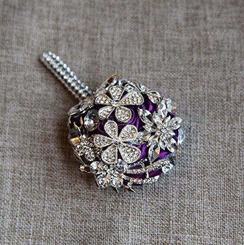 Handgemachte Diamant Kristall Perle Seide Rosen Brautjungfer Braut Künstliche Blumensträuße Anpassung Braut hält Bouquet Durable Hochzeit mit Brosche Corsage Blume ( Color : Lila )
