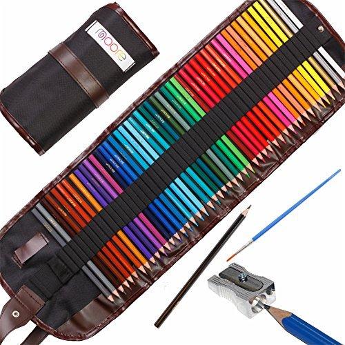 Moore: Set da 48 pezzi di matite da disegno colorate di alta qualità Pastelli pre-affilati dai colori vivaci per adulti e bambini, con temperino KUM in lega metallica (made in Germany) incluso Set contenuto in un astuccio di tela arrotolabile