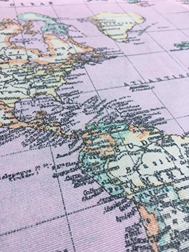 Weltkarte pink Designer Vorhang Polster Baumwolle Stoff Material–Retro Weltkarte Leinwand–Licht Pink–140cm (Meterware)