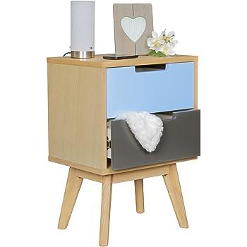 wohnling retro nachtkonsole skandi holz nachttisch 4 schubladen 44 x 83 x 33 cm mehrfarbig. Black Bedroom Furniture Sets. Home Design Ideas