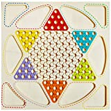 Trinkets & More™ - Wooden 2 in 1 Premium Chinese Checker Board with Wooden Marbles and Ludo   Ludo Board Game   Classic Board Games Superb Family Game   Perfect Adults and Kids Gift   Fun Toys 3+ Years