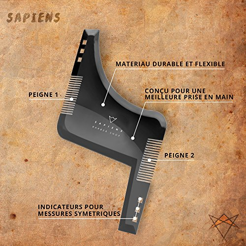 Beard-Comb-Stencil-MultiStyle--Accessory-for-Beard-Beard-Transparent-with-Instruction-Booklet-Model-for-Size-and-Clean-Edges-For-use-with-Razor-Beard-Sapiens