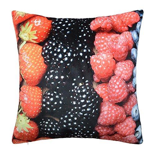King Rose Fruits frais Couvre-lit décoratif Taie d'oreiller Housses de coussins pour canapé de cuisine 45,7 x 45,7 cm, Velours, framboise, King