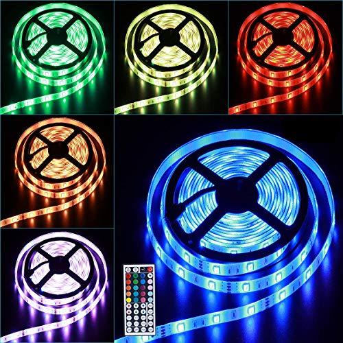 LED-Streifenlicht-Kit für Upgrate SMD-RGB-Licht mit 24 Tasten (5M), 2835- LED , flexible wechselnde mehrfarbige Beleuchtungsstreifen für TV, Schlafzimmer, Party, Hochzeit