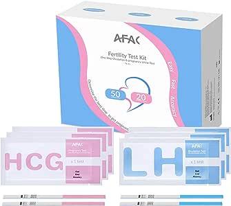 AFAC 50 Test Ovulazione + 20 Test Gravidanza, 70 Sacchetti di Alluminio Confezionati Singolarmente, Strisce Reattive per Urina (50 LH + 20 HCG)