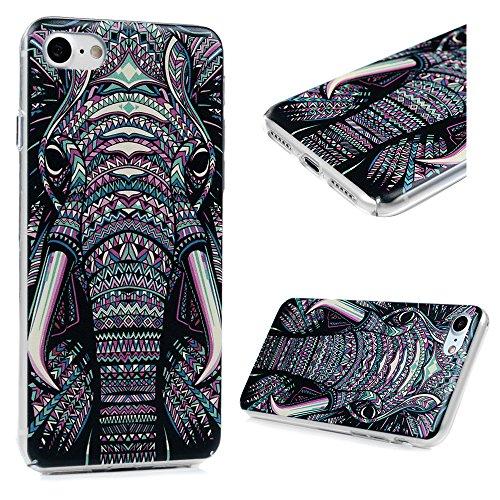 YOKIRIN Custodia per iPhone 7 (4.7 Pollici), Custodia Protettiva PC Case Anti Polvere e Graffi Trasparente Vario Disegno (Lamore tra il Gatto e il Pesce) Elefante 1