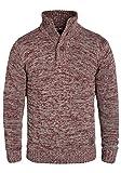 !Solid Philario Herren Strickpullover Troyer aus 100% Baumwolle Meliert, Größe:L, Farbe:Wine Red Melange (8985)