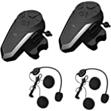 ENCHICAS BT-S3-2x Intercom Moto Duo pour 2 Casques Bluetooth Kit Main Libre Headphones Intégrable au Casque Moto & Ski