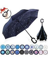 ZOMAKE Paraguas de Doble Capa Invertido, Paraguas Plegable Reversible con Protección contra Rayos UV, Resistencia con Viento,…