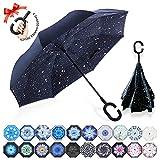 ZOMAKE Inverted Stockschirme, Innovative Schirme Double Layer, Winddicht Regenschirm, Freie Hand,Umgedrehter Regenschirm mit C Griff für Auto Outdoor (Nachthimmel)