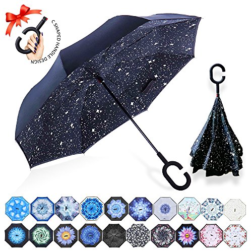 ZOMAKE Reversion Regenschirm, Innovative Schirme Double Layer Winddicht Regenschirm Freie Hand Taschenschirm Inverted Stockschirme mit C Griff für Reisen und Auto Outdoor di (Nachthimmel)